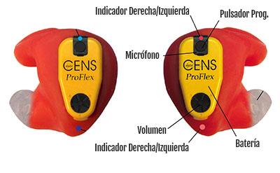 Partes de CENS Proflex Digital 2 . Protector Auditivo Cazadores